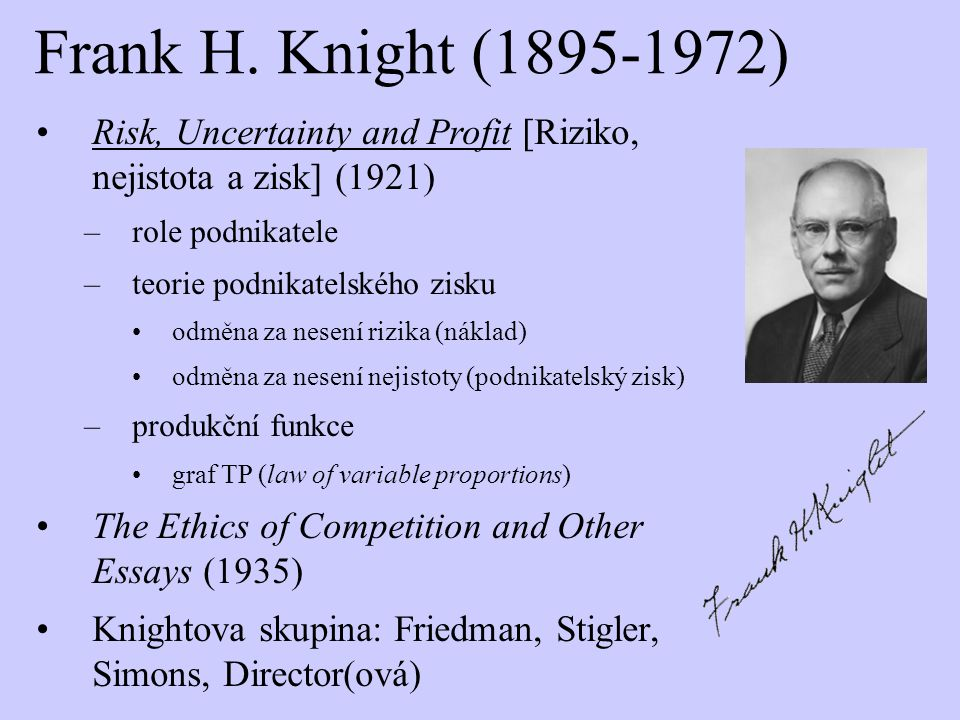 Frank H. Knight (1895-1972) Risk, Uncertainty and Profit [Riziko, nejistota a zisk] (1921) role podnikatele.